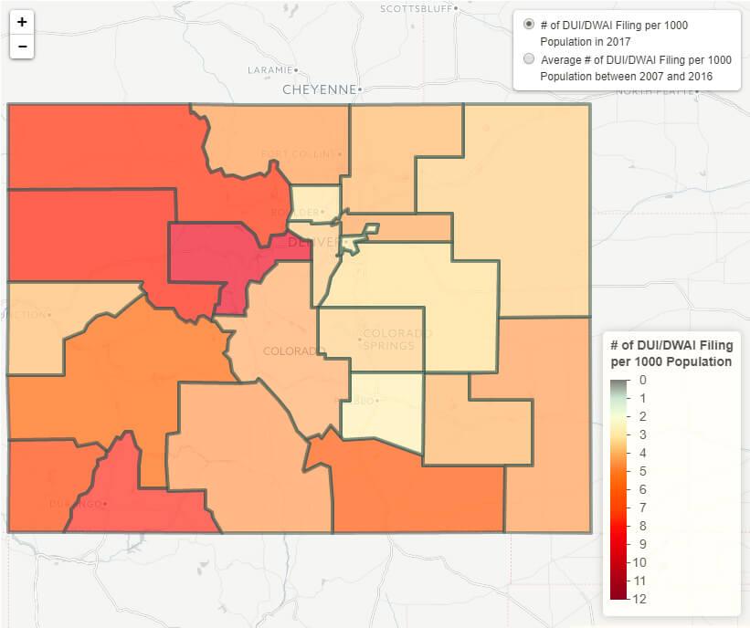 Interactive Map of Colorado DUIs by Region
